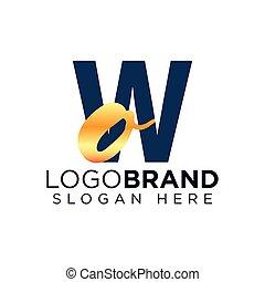 ow, logotipo, iniziale, lettera, vettore