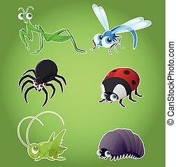 owad, komplet, ikony