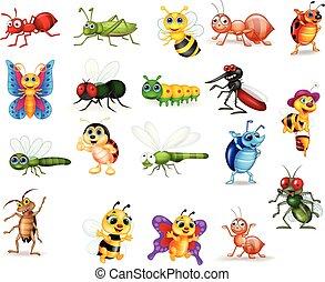 owad, komplet, rysunek, zbiór
