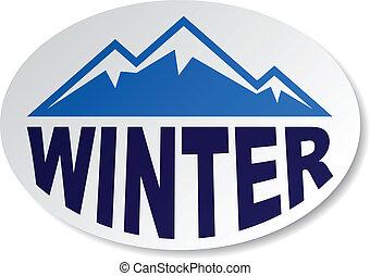 owal, góra, rzeźnik, wektor, zima