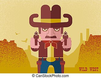 ?owboy aiming the guns. American Western man with cowboy hat on desert landscape