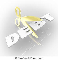 owed, mot, argent, coûts, découpage, ciseaux, dette
