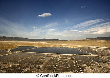 Owens Valley, California. - Aerial of Owens Valley alkali...