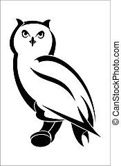 Owl 1 - Vector illustration : Owl on a white background.