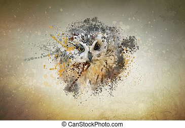 Owl, abstract animal concept