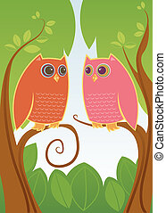 Owl Always Love You - Two colorful owls in love - looking...