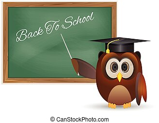 Owl and chalkboard