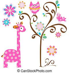 owl and giraffe - pink owl and giraffe