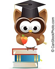 Owl and graduation cap and apple
