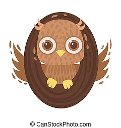 Owl and letter O. Vector illustration on a white background.