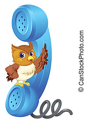 Owl and phone receiver - illustration of owl and phone ...