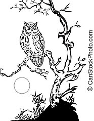 Owl and the Moon,,line art ready for your design work or...