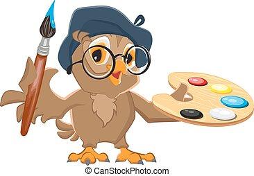 Owl artist holding brush palette - Owl artist holding brush...