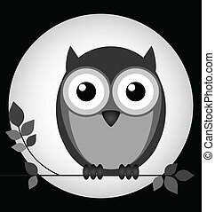 Owl at night - Owl sat on a branch with moon behind