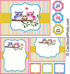 Owl baby shower card illustration