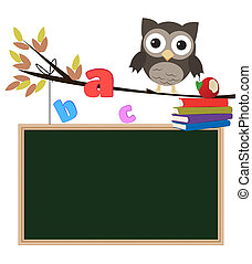 Owl back to school isolated/Little brown owl on branch with...