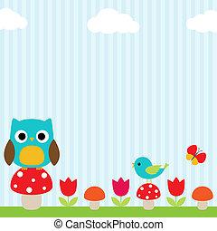 Owl background - Bright background with owl, bird,...