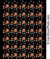 Owl background with flowers