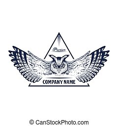 owl badge hand draw