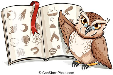 Owl beside the book with a red bookmark on a white...