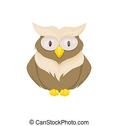 Owl bird animal vector character wild childish or baby fun forrest animal illustration.
