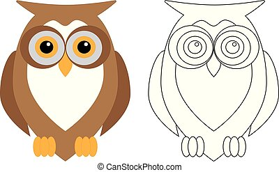 Owl bird, coloring page. Vector illustration.