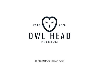 owl bird head line minimalist logo vector illustration design