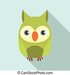 Owl bird icon, flat style