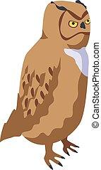 Owl bird icon, isometric style