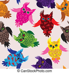 Owl bird seamless icon vector detai