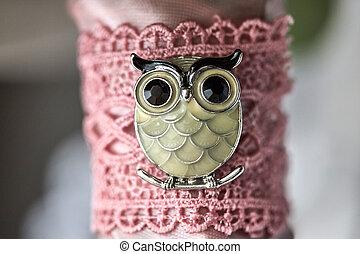 Owl bird sitting on the branch brooch enamel rhinestone