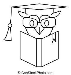 Owl book icon, outline style