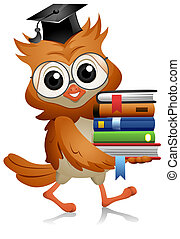 Owl Books - A Bespectacled Owl Carrying a Pile of Books