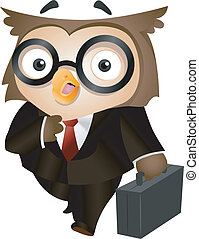 Owl Briefcase - Illustration of an Owl Carrying a Briefcase
