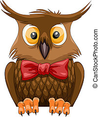 Brown owl on a white background, vector