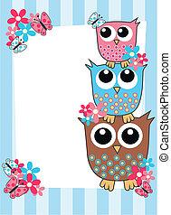owl card - celebration or invitation card
