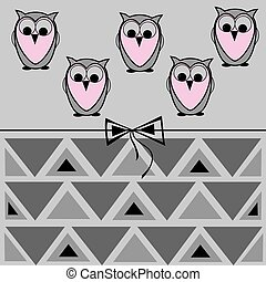 owl card, geometric pattern