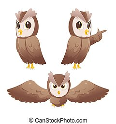 Owl Cartoon Character Pose Set Vector