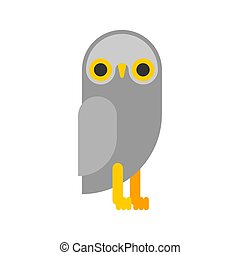 Owl cartoon. eagle-owl flat. bird vector illustration