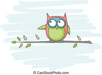 Owl - Cartoon of an owl sitting on a branch