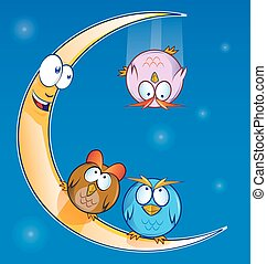 owl cartoon on the moon