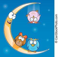 owl cartoon on the moon