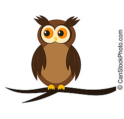 Owl - Cartoon owl sitting on tree branch. Vector...
