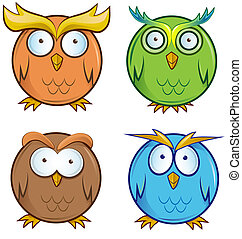 owl cartoon set
