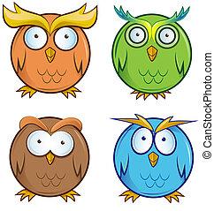 owl cartoon set