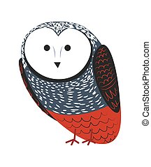 Owl cartoon vector funny bird