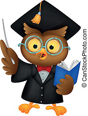 Owl cartoon wearing a graduation un