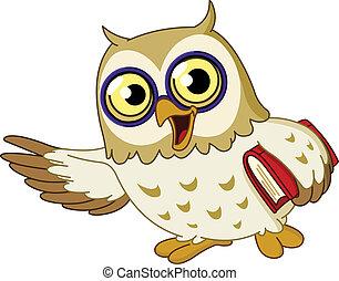 Cartoon wise owl teaching