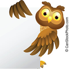 Owl cartoon with blank sign - Vector Illustration Of Owl...