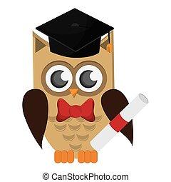 owl cartoon with graduation cap and diploma icon
